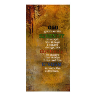 Serenity Prayer: Grunge Multi-color, Recovery Photo Cards