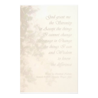Serenity Prayer Holly and Snow Recovery Stationery