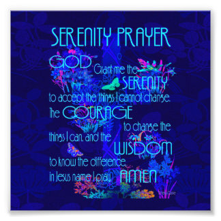 Serenity Prayer in Blue Photo Print