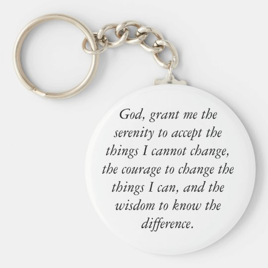 Serenity Prayer Keychain, simple & clean. Key Ring
