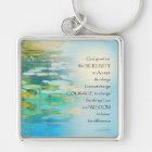 Serenity Prayer Koi Pond Blue Green Key Ring