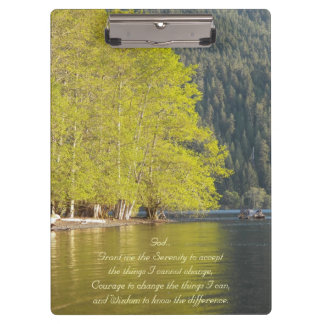 Serenity Prayer Lake Reflection Photo Clipboard