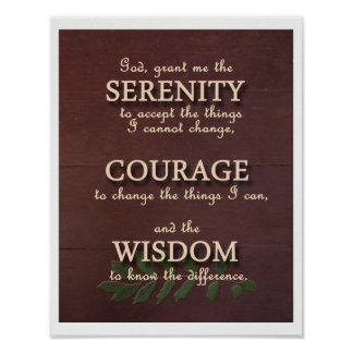 Serenity Prayer Motivational Poster - Portrait