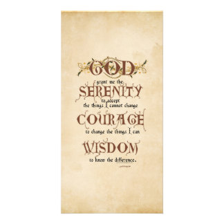 Serenity Prayer: Old English Antique, Recovery Photo Card Template