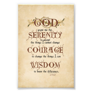 Serenity Prayer: Old English Antique, Recovery Photo Print