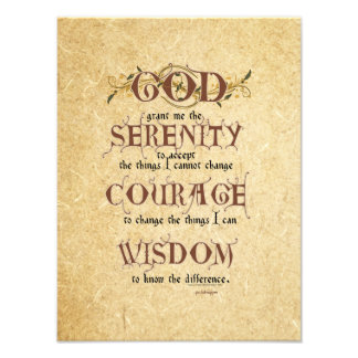 Serenity Prayer: Old English Antique, Strength/Rec Photo Art
