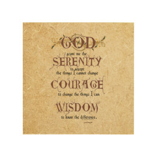 Serenity Prayer: Old English Antique, Strength/Rec Wood Wall Art
