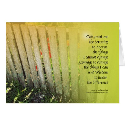 Serenity Prayer Old Fence Red Tulips Greeting Cards