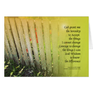 Serenity Prayer Old Fence Red Tulips Note Card