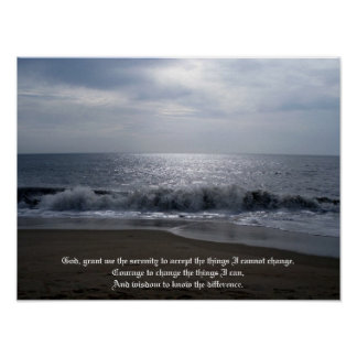 Serenity Prayer on Beautiful Beach Photo at Dawn Poster