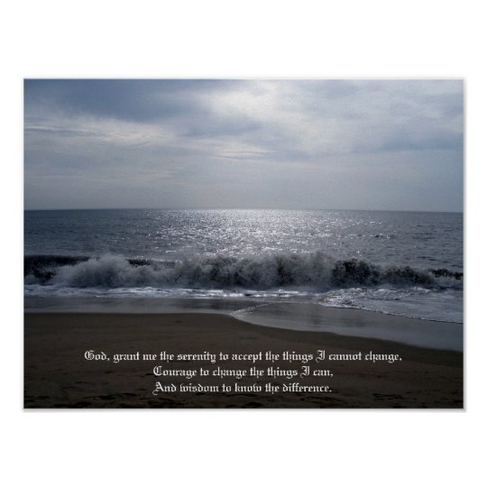 Serenity Prayer on Beautiful Beach Photo at Dawn