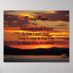Serenity Prayer Orange Sunset Poster