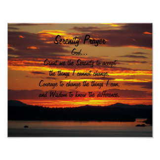 Serenity Prayer Orange Sunset Poster