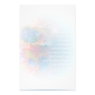 Serenity Prayer Pale Blue Flower Stationery