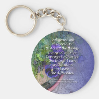 Serenity Prayer Pansy Blue Key Ring