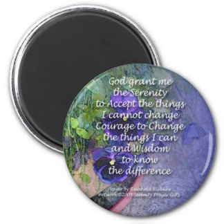 Serenity Prayer Pansy Blue Magnet