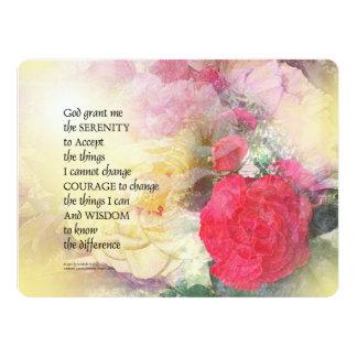 Serenity Prayer Peonies and Roses 17 Cm X 22 Cm Invitation Card
