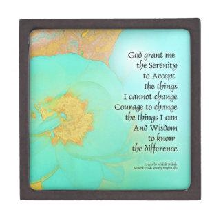 Serenity Prayer Peonies Yellow Green Premium Jewelry Boxes