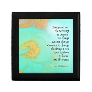 Serenity Prayer Peonies Yellow Green Small Square Gift Box