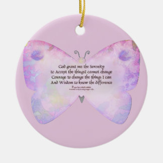 Serenity Prayer Pink and Lavender Butterfly Christmas Ornament
