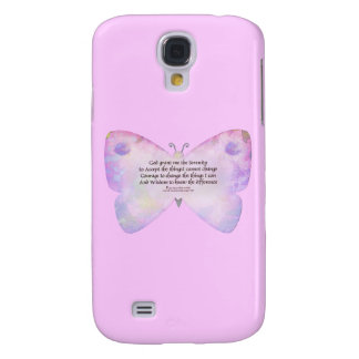 Serenity Prayer Pink and Lavender Butterfly Galaxy S4 Case