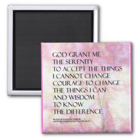 Serenity Prayer Pink and White Magnet