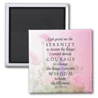 Serenity Prayer Pink Poppies Magnet