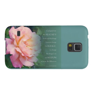 Serenity Prayer Pink Rose Green Leaves Galaxy S5 Cover