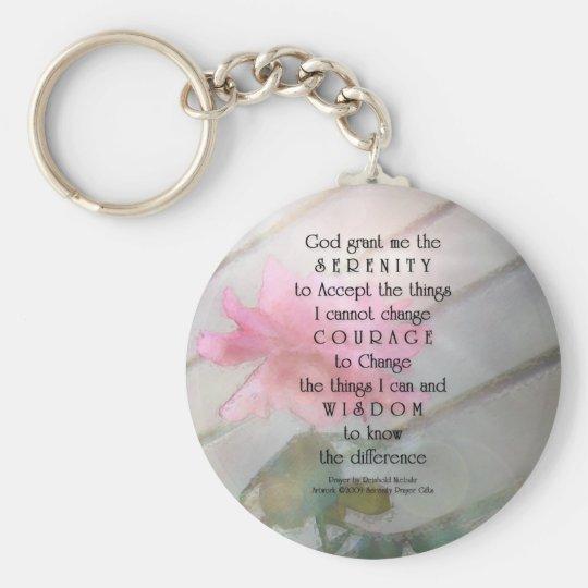 Serenity Prayer Pink Rose Key Ring