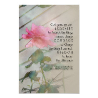 Serenity Prayer Pink Rose Print