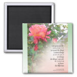 Serenity Prayer Pink Rose Two Buds Square Magnet
