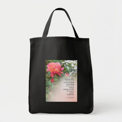 Serenity Prayer Pink Rose Two Buds Grocery Tote Bag
