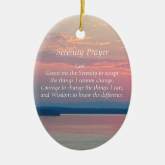 Serenity Prayer Pink Seascape Oval Christmas Ornament