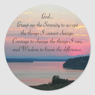 Serenity Prayer Pink Seascape Photo Classic Round Sticker