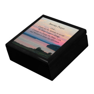 Serenity Prayer Pink Seascape Photo Large Square Gift Box