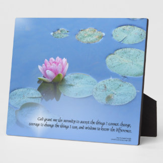 Serenity Prayer Pink Water Lily Photo Plaque