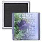 Serenity Prayer Purple Tulip Magnet