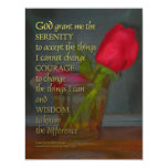 Serenity Prayer Rose in Glass Personalized Announcements