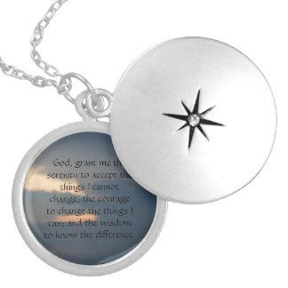 serenity prayer round locket necklace