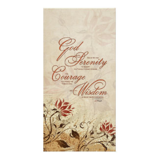 Serenity Prayer: Rusty Floral, Strength/Recovery Customized Photo Card