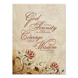 Serenity Prayer: Rusty Floral, Strength/Recovery Photographic Print
