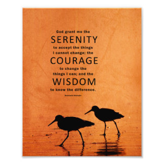 Serenity Prayer: Seagulls/Beach, Strength/Recovery Photo Art
