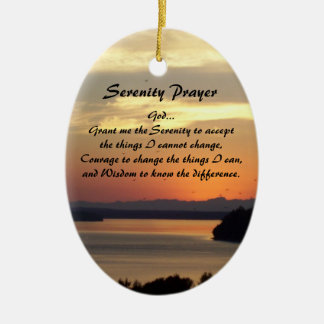 Serenity Prayer Seascape Sunset Oval Ceramic Oval Decoration