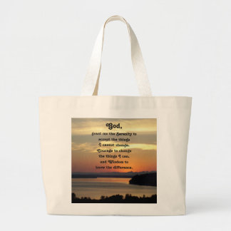 Serenity Prayer Seascape Sunset Photo Large Tote Bag