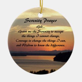 Serenity Prayer Seascape Sunset Round Christmas Ornament