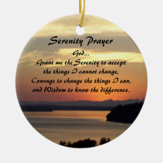 Serenity Prayer Seascape Sunset Round Round Ceramic Decoration