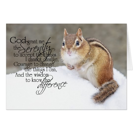 Serenity Prayer Snowy Chipmunk Card