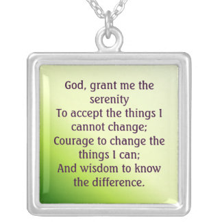 Serenity Prayer Square Pendant Necklace