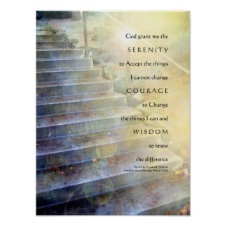 Serenity Prayer Steps Yellow Blue Poster