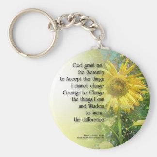 Serenity Prayer Sunflower Basic Round Button Key Ring